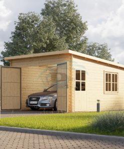 Trä garage Modern platt tak 24m², 44mm