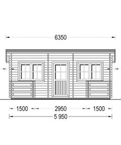 Timmerstuga med terrass ALTO platt tak 31m², 44mm_Front