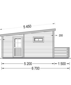 Timmerstuga med terrass ALTO platt tak 31m², 44mm_Left