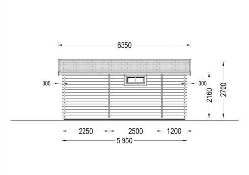 Timmerstuga med terrass ALTO platt tak 31m², 44mm_Back