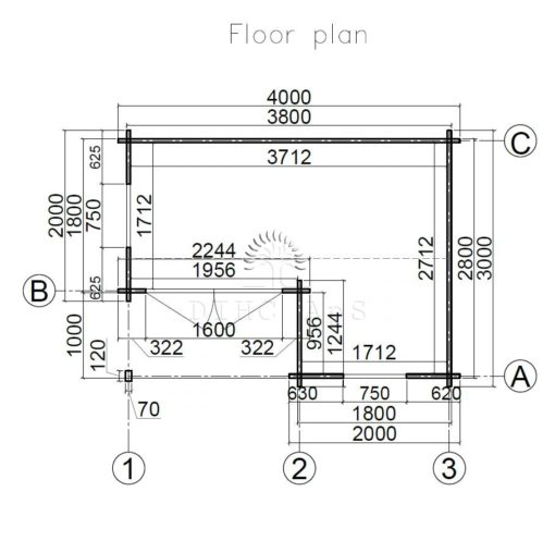 Friggebod Alpina 4 m x 3 m, 44 mm__floor plan
